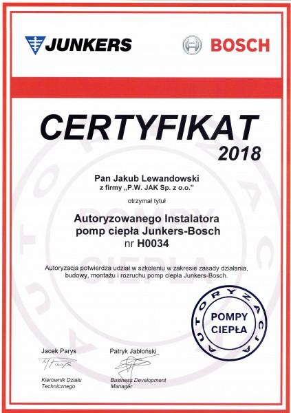Certyfikat Junkers Bosch
