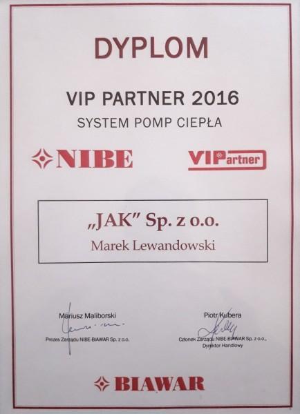 Certyfikaty-VIP Partner NIBE 2016