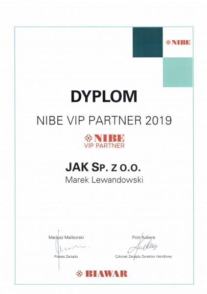 Certyfikat VIP Partner NIBE 2019