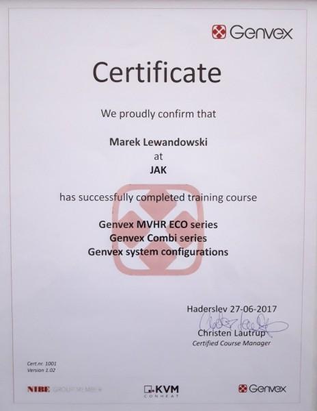 Certyfikat Genvex